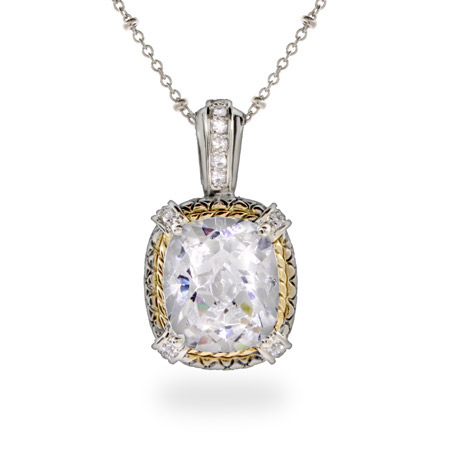 Designer Inspired Brilliant Cushion Cut CZ Pendant