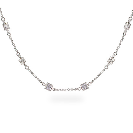 Dazzling Princess Cut CZs by the Yard Necklace