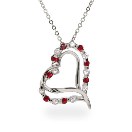 Petra's Ruby CZ Sterling Silver Double Heart Pendant
