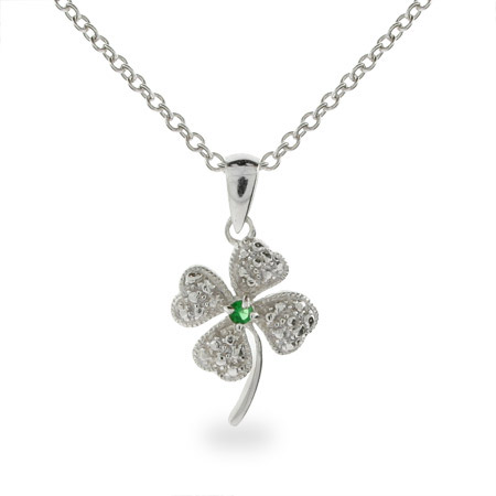 Lucky Green CZ Four Leaf Clover Sterling Silver Pendant