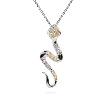 Canary CZ Sterling Silver Snake Necklace