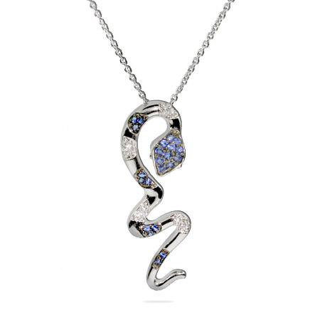 Lindsay's Blue and White CZ Snake Pendant