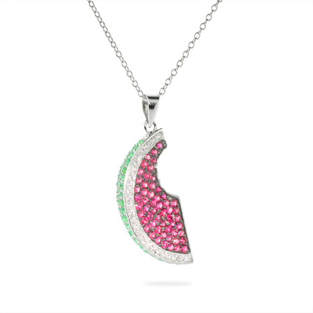 Sparkling CZ Juicy Watermelon Sterling Silver Pendant