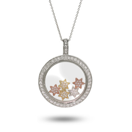 Chopard Inspired Floating CZ Stars Sterling Silver Circle Pendant