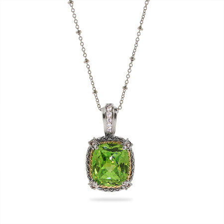 Designer Style Brilliant Cushion Cut Peridot CZ Pendant