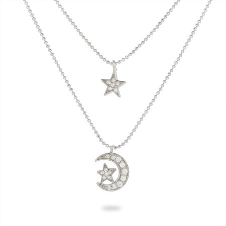 Moon and Stars CZ Layered Charm Necklace