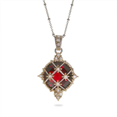 Designer Inspired Ornate Vintage Garnet CZ and Cable Pendant