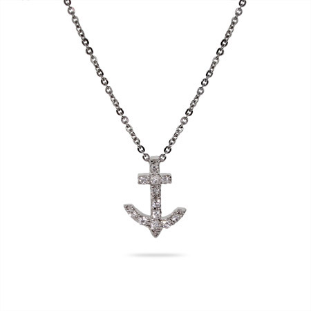Tiffany Inspired Petite CZ Anchor Pendent