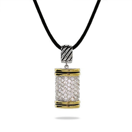 Designer Inspired Pave CZ Cable Bar Pendant
