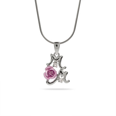 Pretty Pink Rose Sterling Silver Mom Pendant