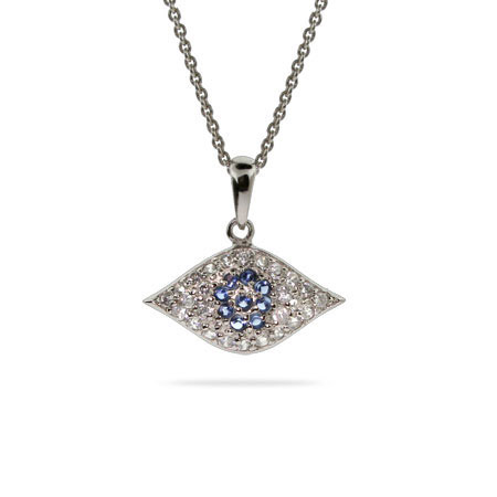 CZ and Sterling Silver Evil Eye Pendant