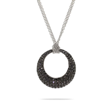 Tiffany Inspired Black Pave CZ Double Strand O Necklace