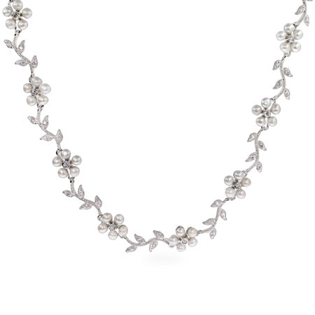 Elegant Vine of Freshwater Pearl Flowers Necklace