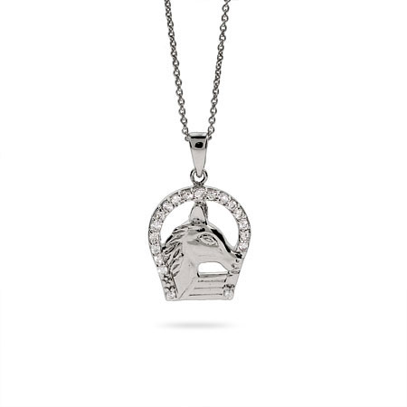 Sterling Silver and CZ Horse and Horseshoe Necklace