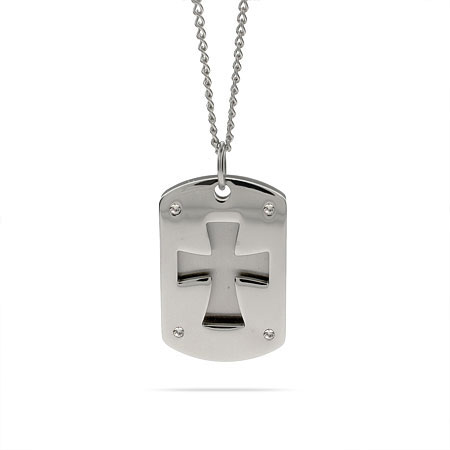 Stainless Steel Cross Double Dog Tag Pendant