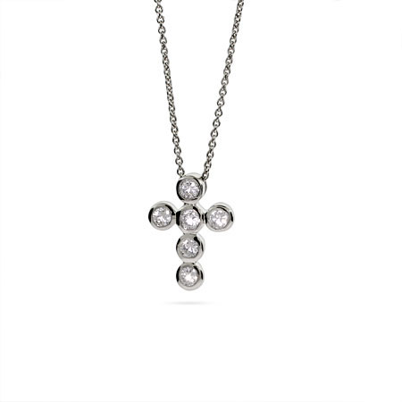 Tiffany Inspired Petite CZ Bubbles Cross Necklace