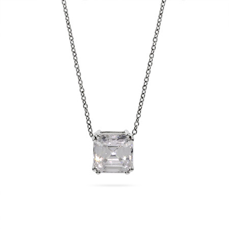 Sparkling Asscher Cut CZ Solitaire Necklace