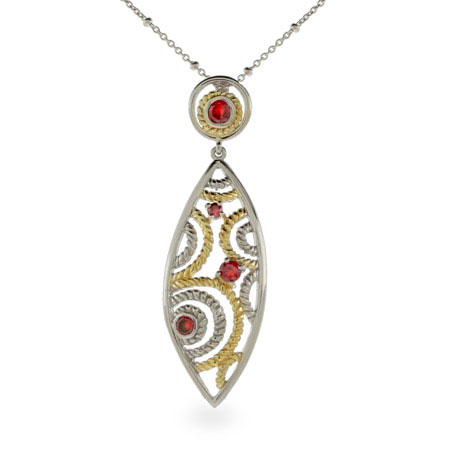 Designer Inspired Ruby CZ Cable Drop Necklace