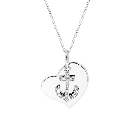 Engravable Sterling Silver Anchor Heart Charm Pendant
