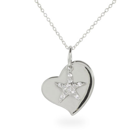 Engravable Sterling Silver Starfish Heart Charm Pendant