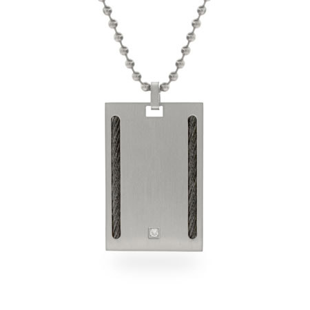 Stainless Steel Square Dog Tag with CZ and Cable Accent