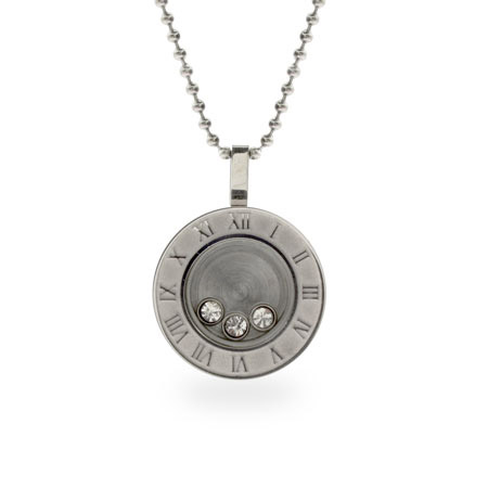 Designer Inspired Floating CZ Round Steel Atlas Pendant
