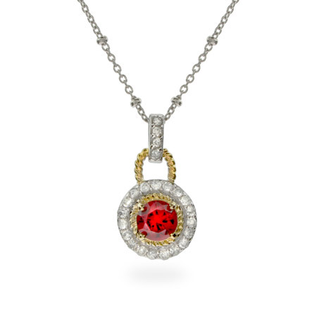 Designer Inspired Sterling Silver Pendant with Gold and Garnet CZ