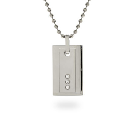 Designer Inspired Rectangular Stainless Steel Dog Tag with CZs