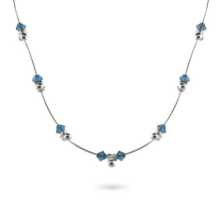 Sterling Silver and Sapphire Bead Scalloped Link Necklace