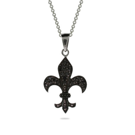 Sterling Silver Black CZ Fleur de Lis Necklace