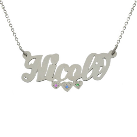 Custom Nameplate Necklace with 3 Birthstone Hearts