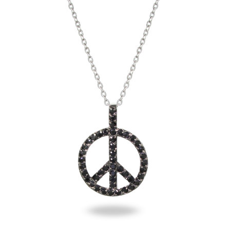 Sterling Silver and Black CZ Peace Sign Pendant