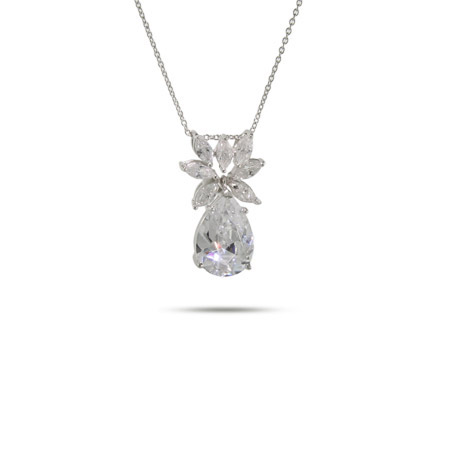 Keiras Fancy Diamond CZ Sterling Silver Peardrop Necklace