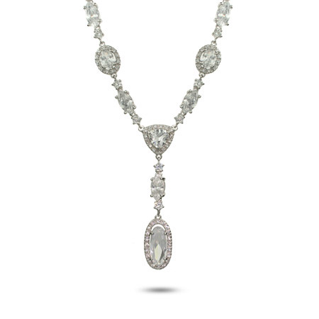 Glamorous Oval Cut CZ Sterling Silver Drop Necklace