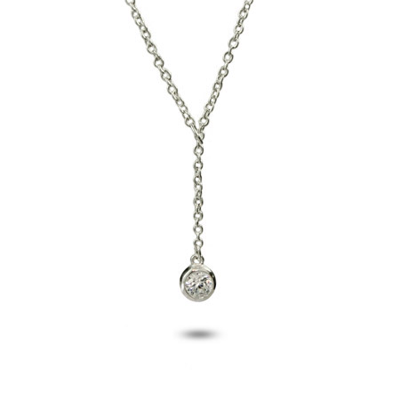 Tiffany Inspired Sterling Silver Bezel CZ Lariat