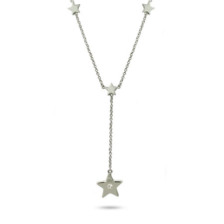 Tiffany Inspired Sterling Silver Star Drop Necklace with Single CZ