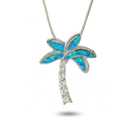 Tiffany Inspired Genuine Opal and CZ Palm Tree Pendant