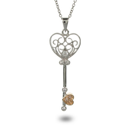 Justines Vintage Sterling Silver and CZ Heart Shaped Key Necklace