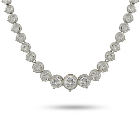 Tiffany Inspired Sparkling Graduated Bezel CZ Necklace