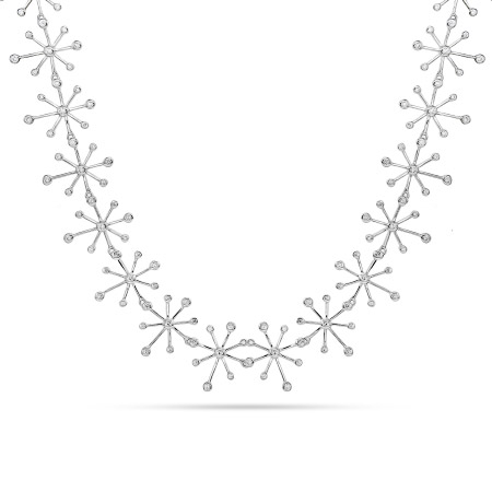 Stunning Sterling Silver and CZ Strand of Snowflakes Necklace