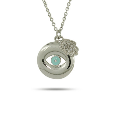 Sterling Silver Evil Eye and Pave CZ Hamsa Charm Necklace