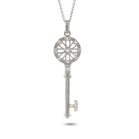 Tiffany Inspired CZ Flower Petals Key Pendant