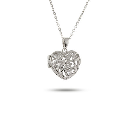 Vintage Filigree CZ and Sterling Silver Heart Locket