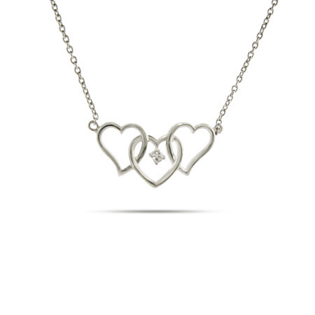 Sterling Silver Triple Hearts Necklace With A Single CZ