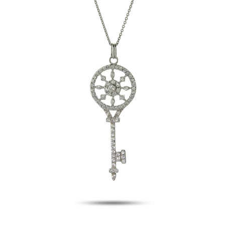 Tiffany Inspired Sterling Silver and CZ Vintage Key Pendant