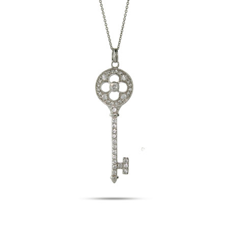 Tiffany Inspired CZ Flower Key Pendant