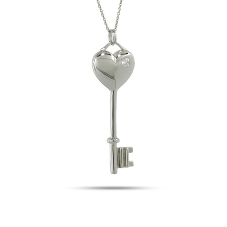 Tiffany Inspired Solid Heart and Single CZ Key Pendant
