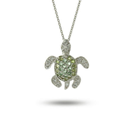 Sterling Silver Green CZ Sea Turtle Pendant