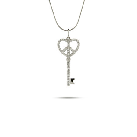 Tiffany Inspired Sterling Silver CZ Peaceful Heart Key Pendant