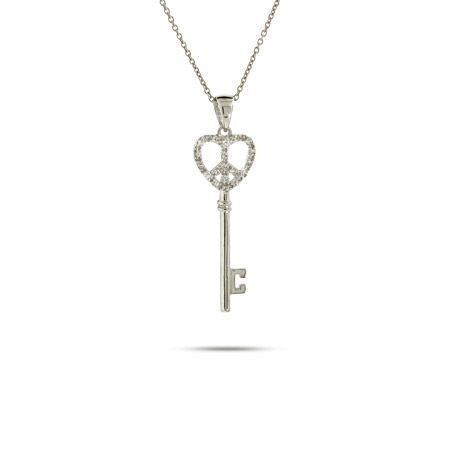 Petite Sterling Silver and CZ Peaceful Heart Key Pendant